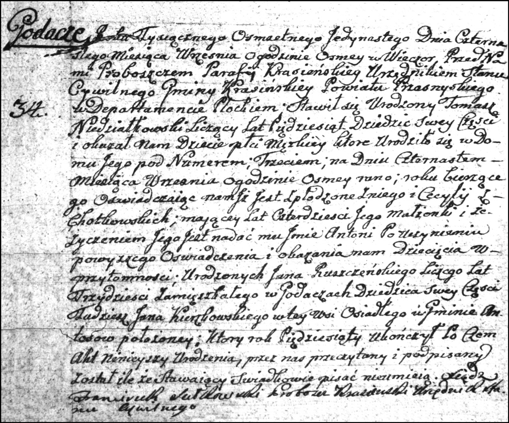 The Birth and Baptismal Record of Antoni Niedzialkowski - 1811