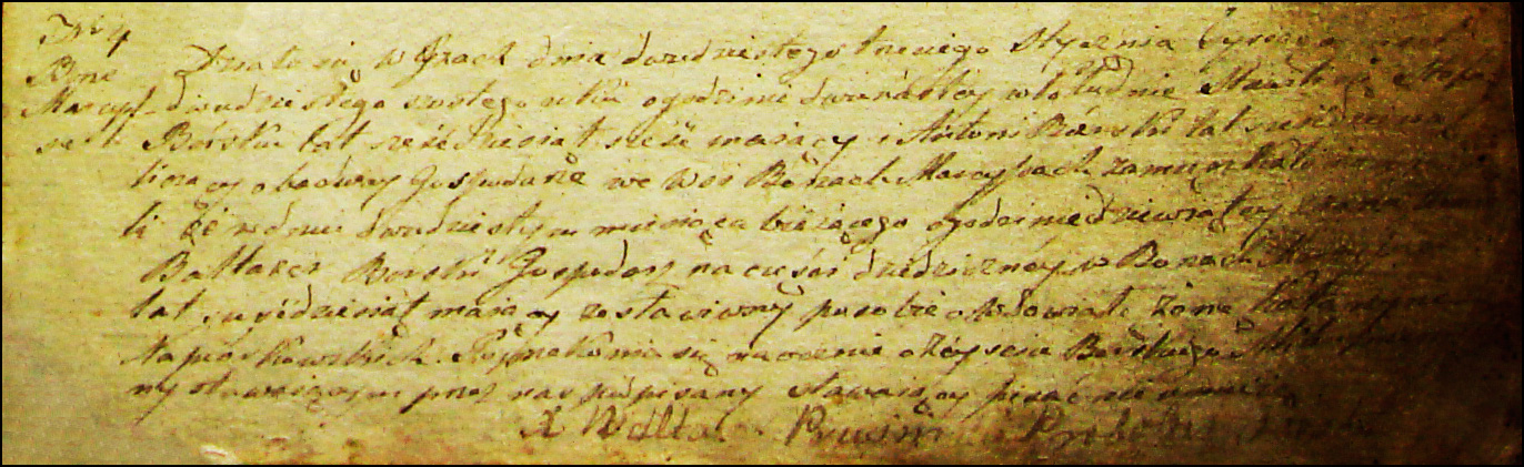 The Death and Burial Record of Baltazar Borski - 1826