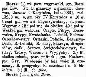 Slownik Geograficzny Entry for Borze - Volume I