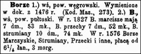 Slownik Geograficzny Entry for Borze - Volume XV