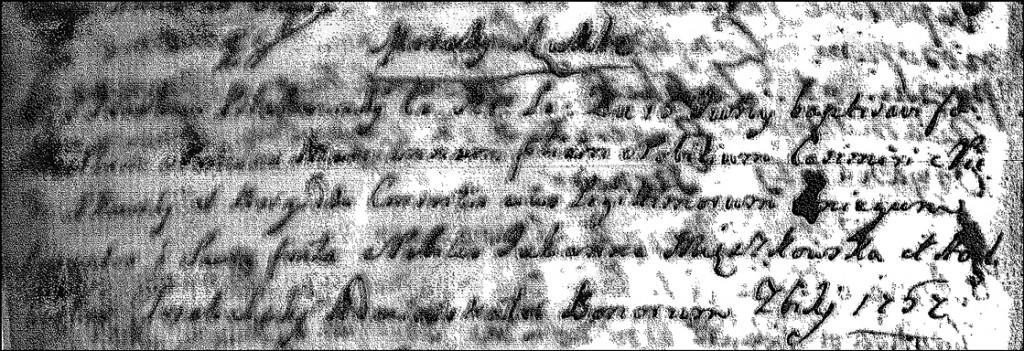 The Birth and Baptismal Record of Marianna Niedziałkowska - 1757
