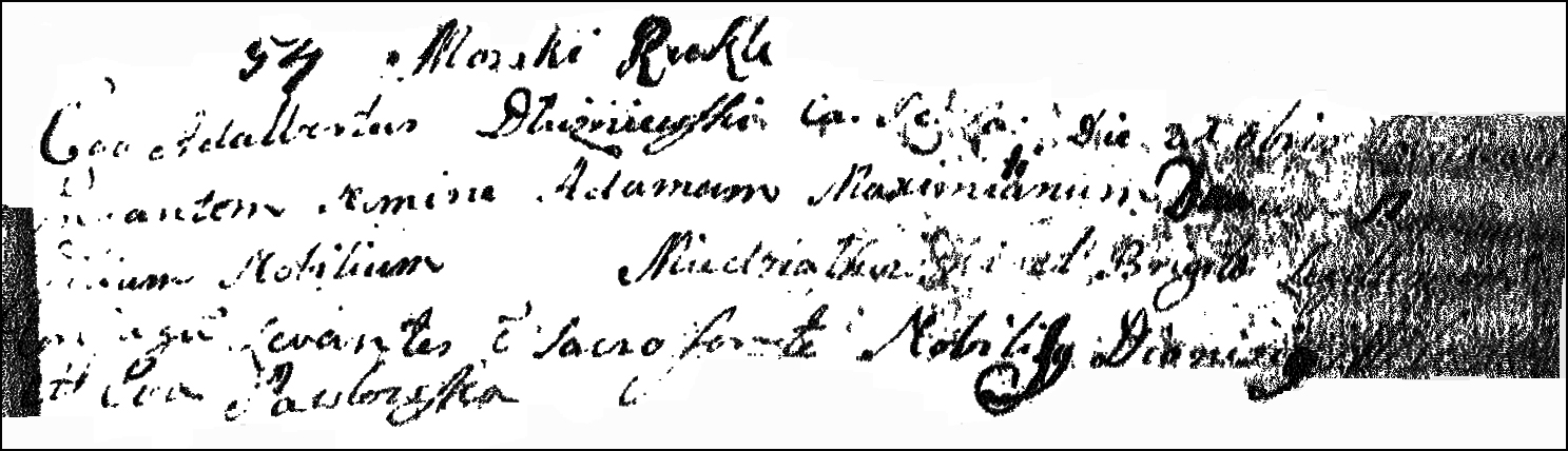The Birth and Baptismal Record of Adam Maksymilian Niedzialkowski - 1759