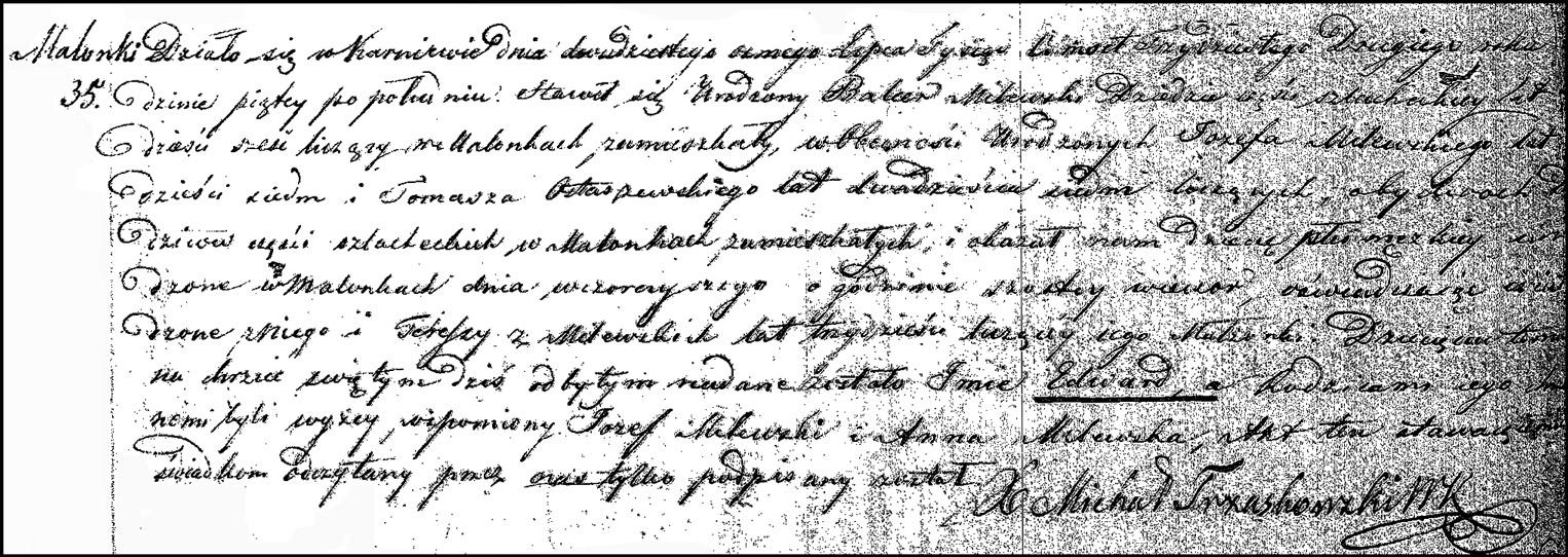 The Birth and Baptismal Record of Edward Milewski - 1832