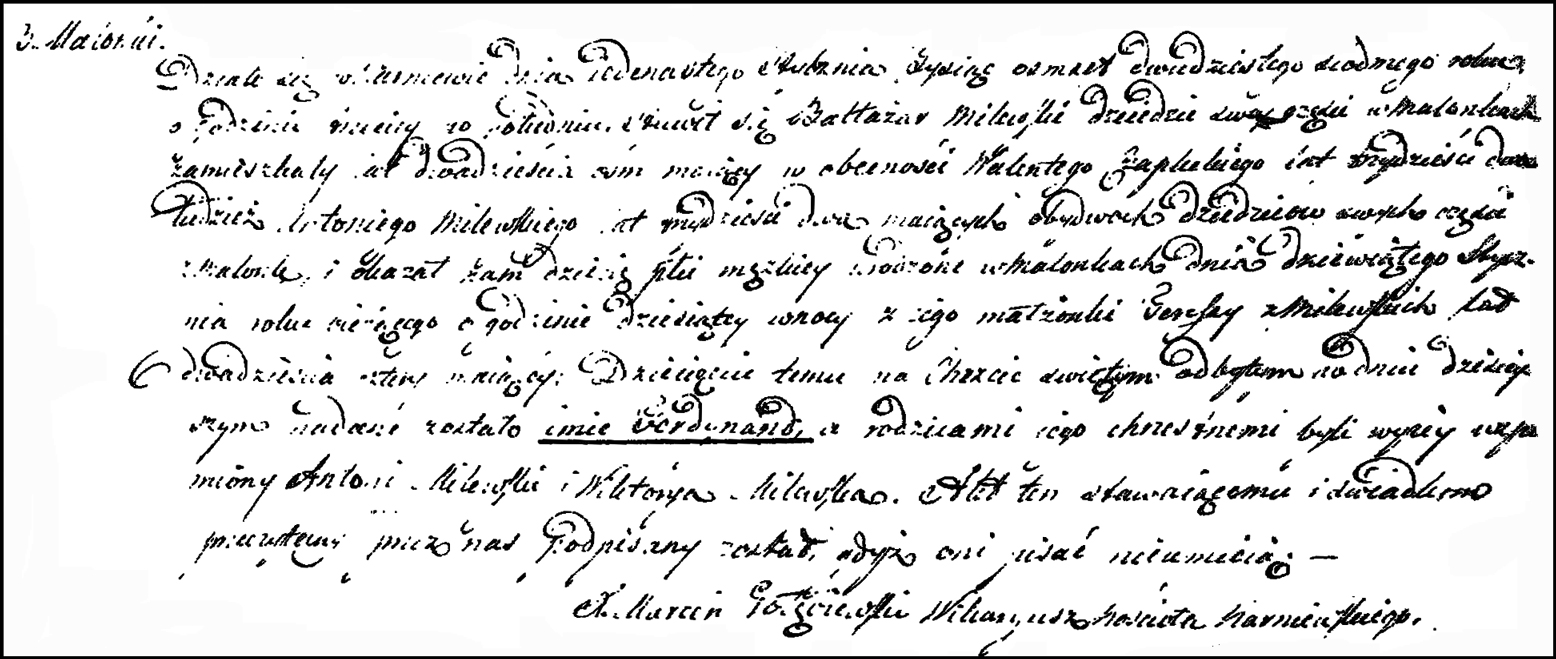 The Birth and Baptismal Record of Ferdynand Milewski - 1827