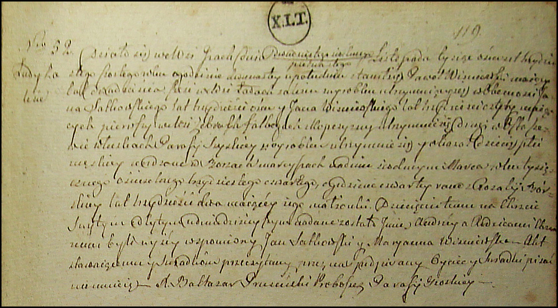 The Birth and Baptismal Record of Andrzej Wisniewski - 1834