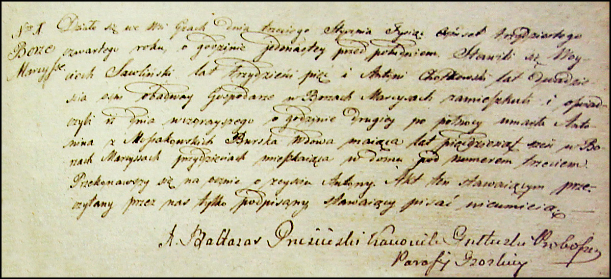 The Death Record of Antonina Burska - 1834