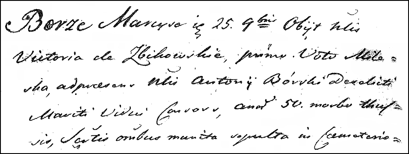 The Death and Burial Record of Wiktoria Zbikowska Burska - 1814