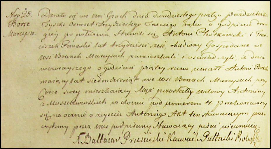 Death Record of Antoni Burski - 1833