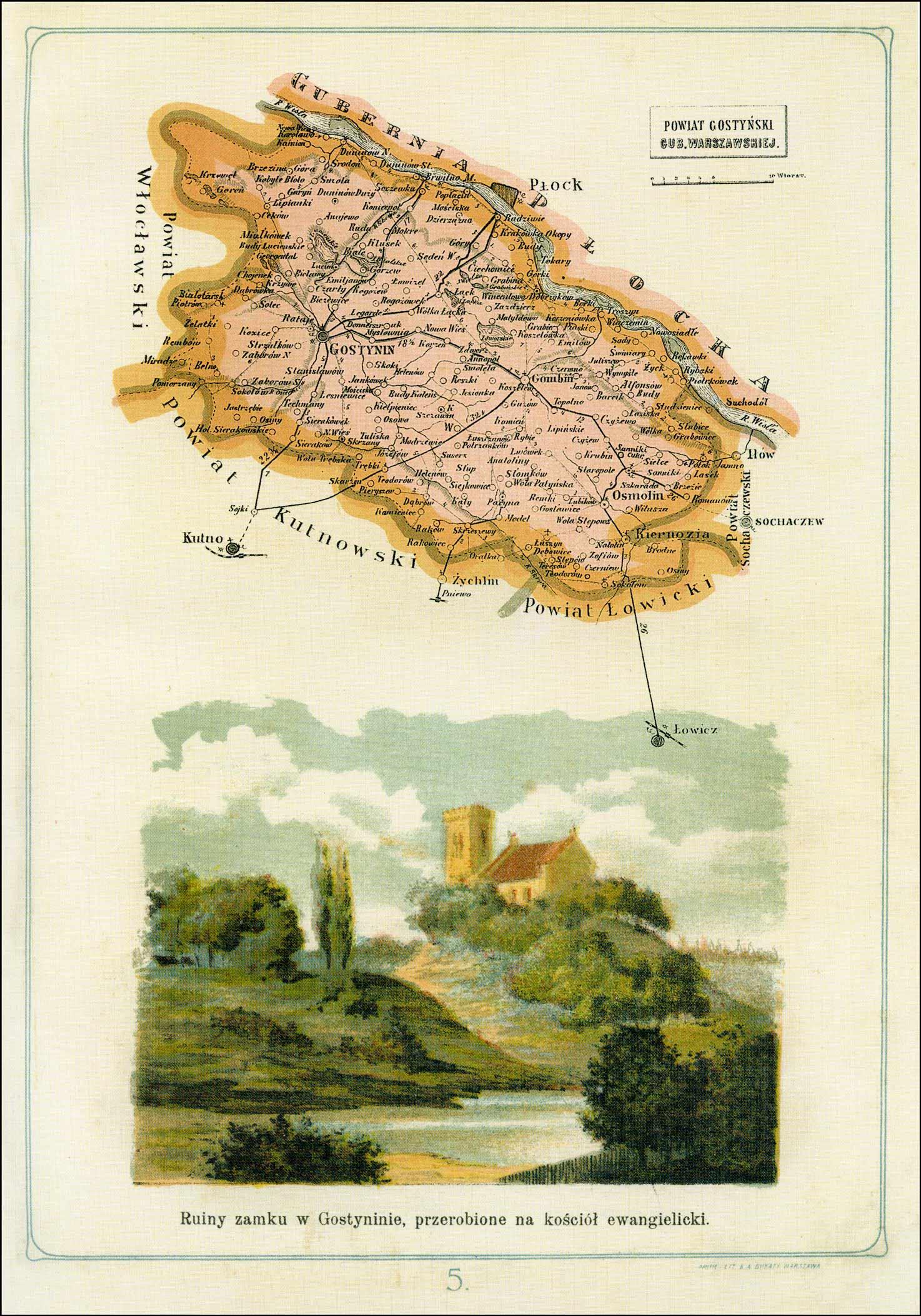 Map of Powiat Gostynski Gubernia Warszawskiej