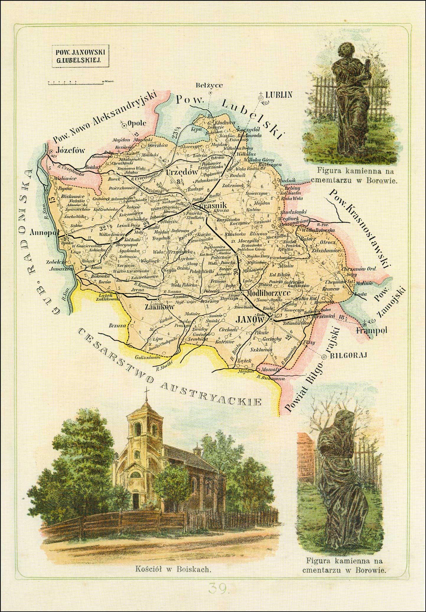Map of Powiat Janowski Gubernia Lubelskiej