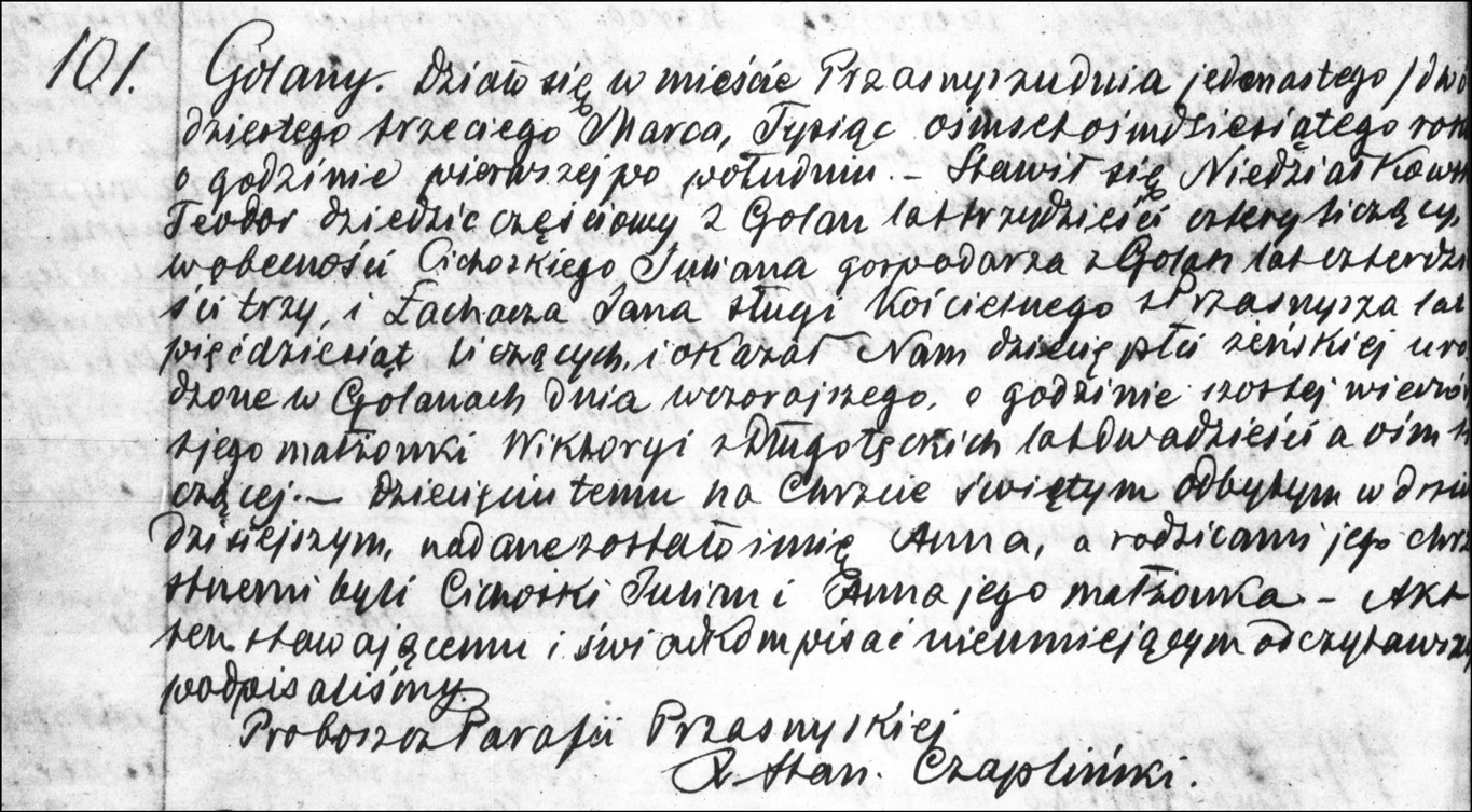 The Birth and Baptismal Record of Anna Niedzialkowska - 1880 (Polish)