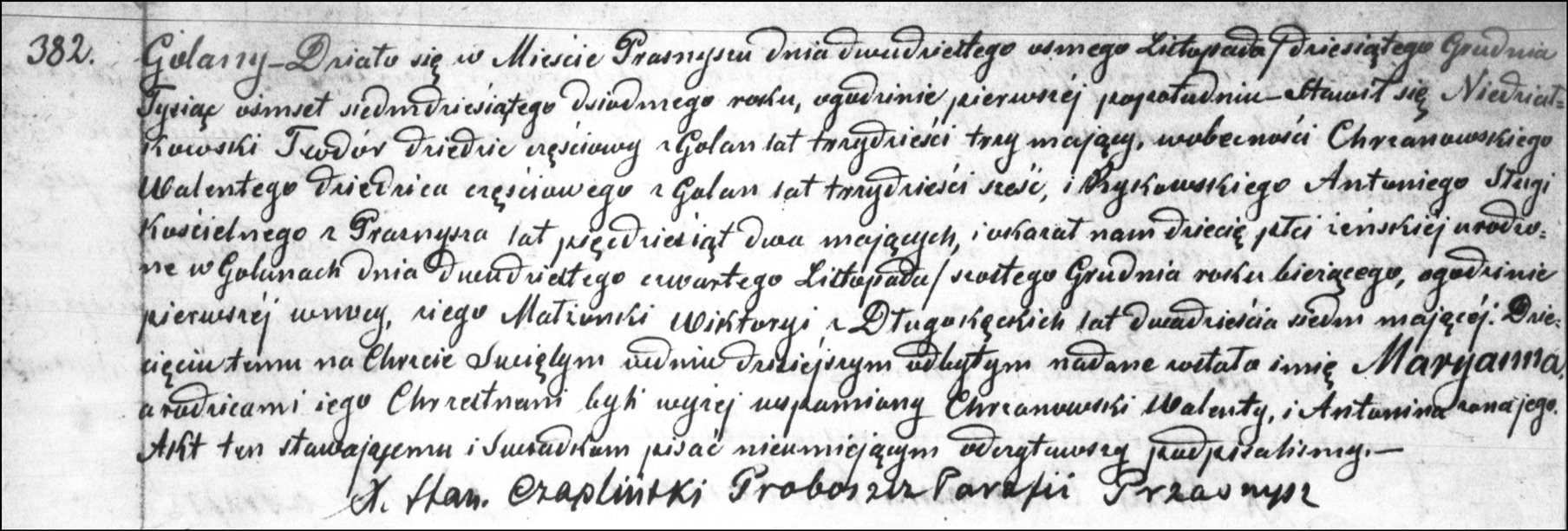 The Birth and Baptismal Record of Maryanna Niedzialkowska - 1877