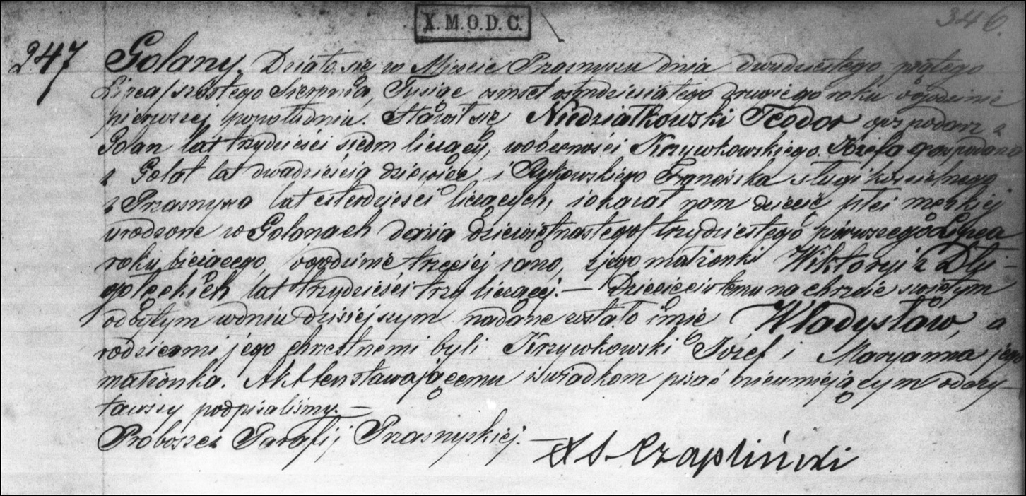 The Birth and Baptismal Record of Wladyslaw Niedzialkowski -1882
