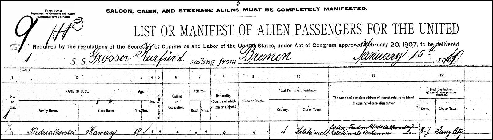 Alien Passenger Manifest for Ksawery Niedzialkowski - 1910 - Page 1