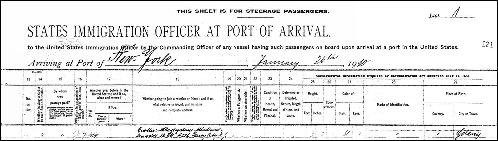Alien Passenger Manifest for Ksawery Niedzialkowski - 1910 - Page 2