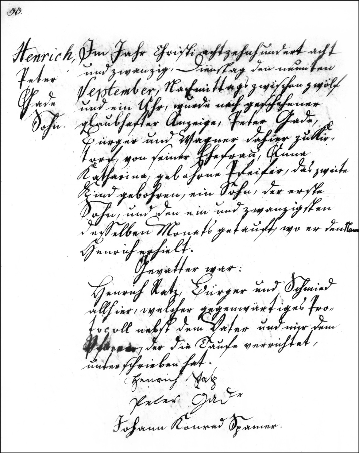 The Birth and Baptismal Record of Henrich Gade - 1828