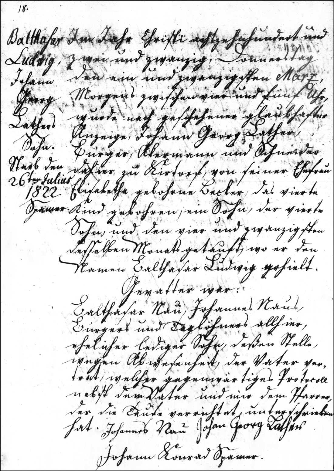 The Birth and Baptismal Record of Balthasar Ludwig Lather - 1832