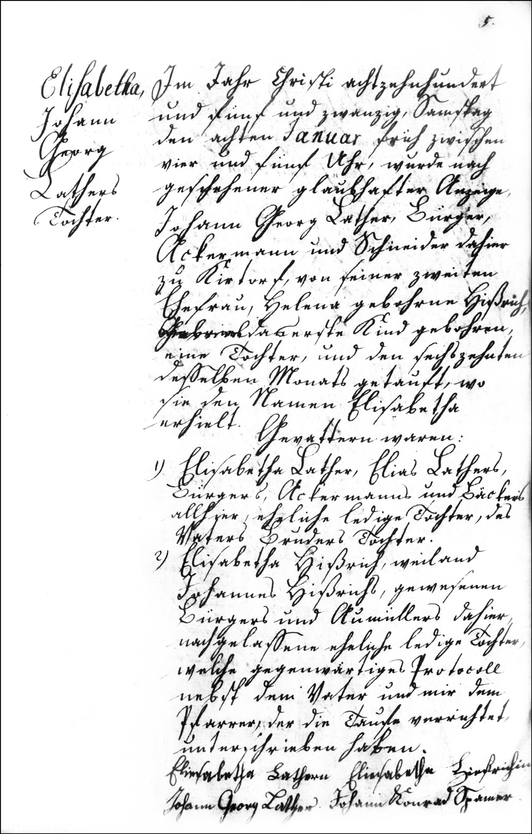 The Birth and Baptismal Record of Elisabetha Lather - 1825
