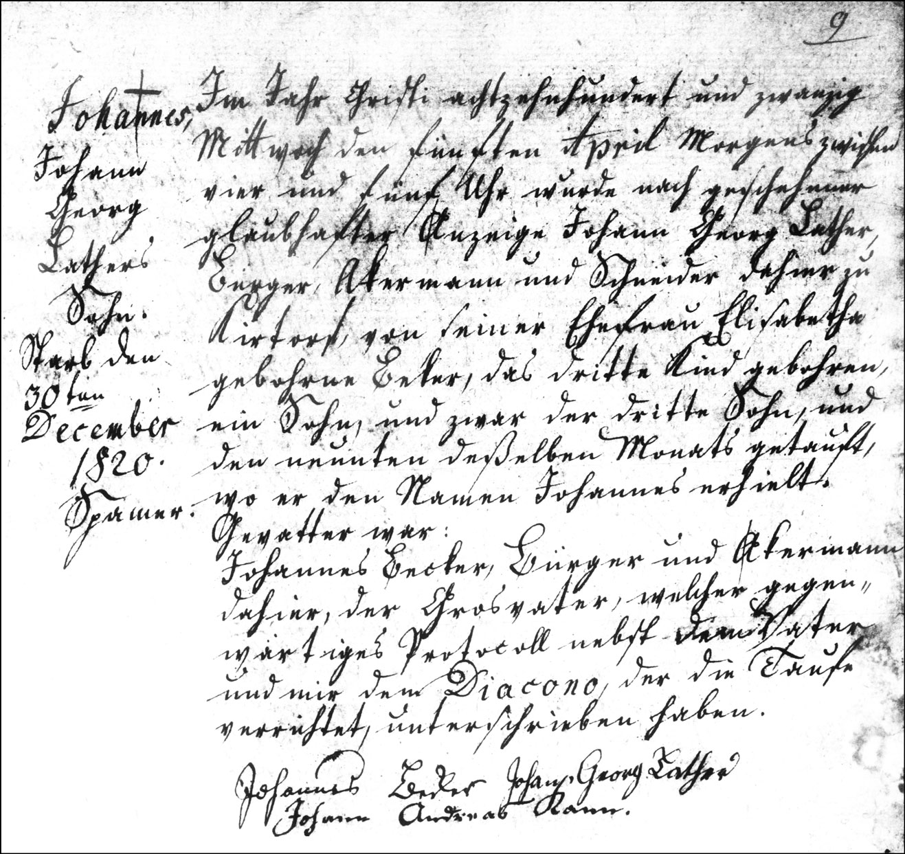 The Birth and Baptismal Record of Johannes Lather - 1820