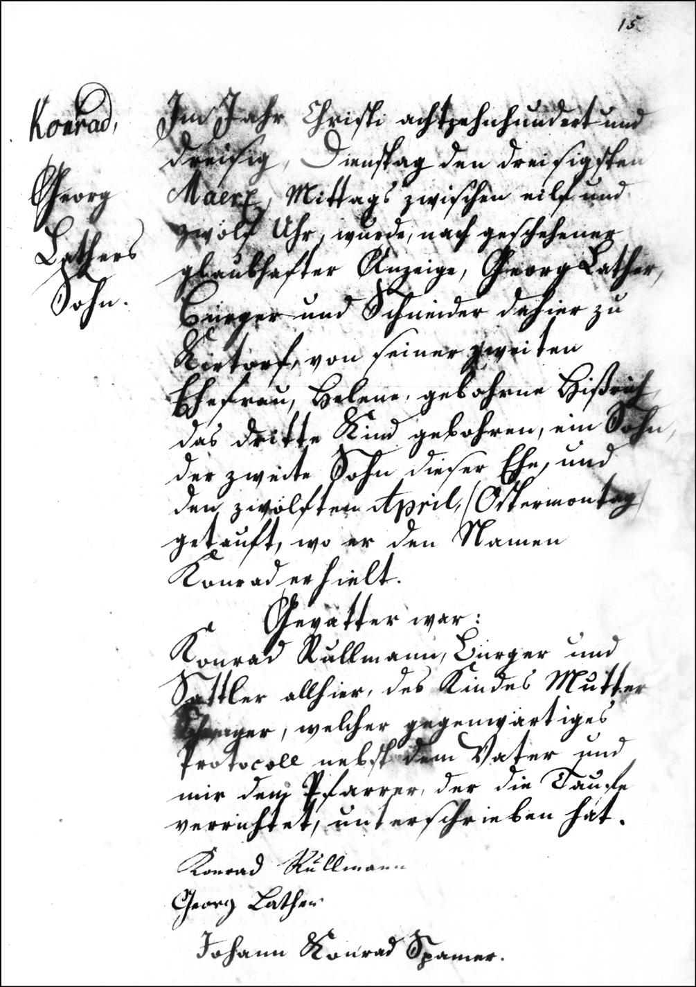 The Birth and Baptismal Record of Konrad Lather - 1830