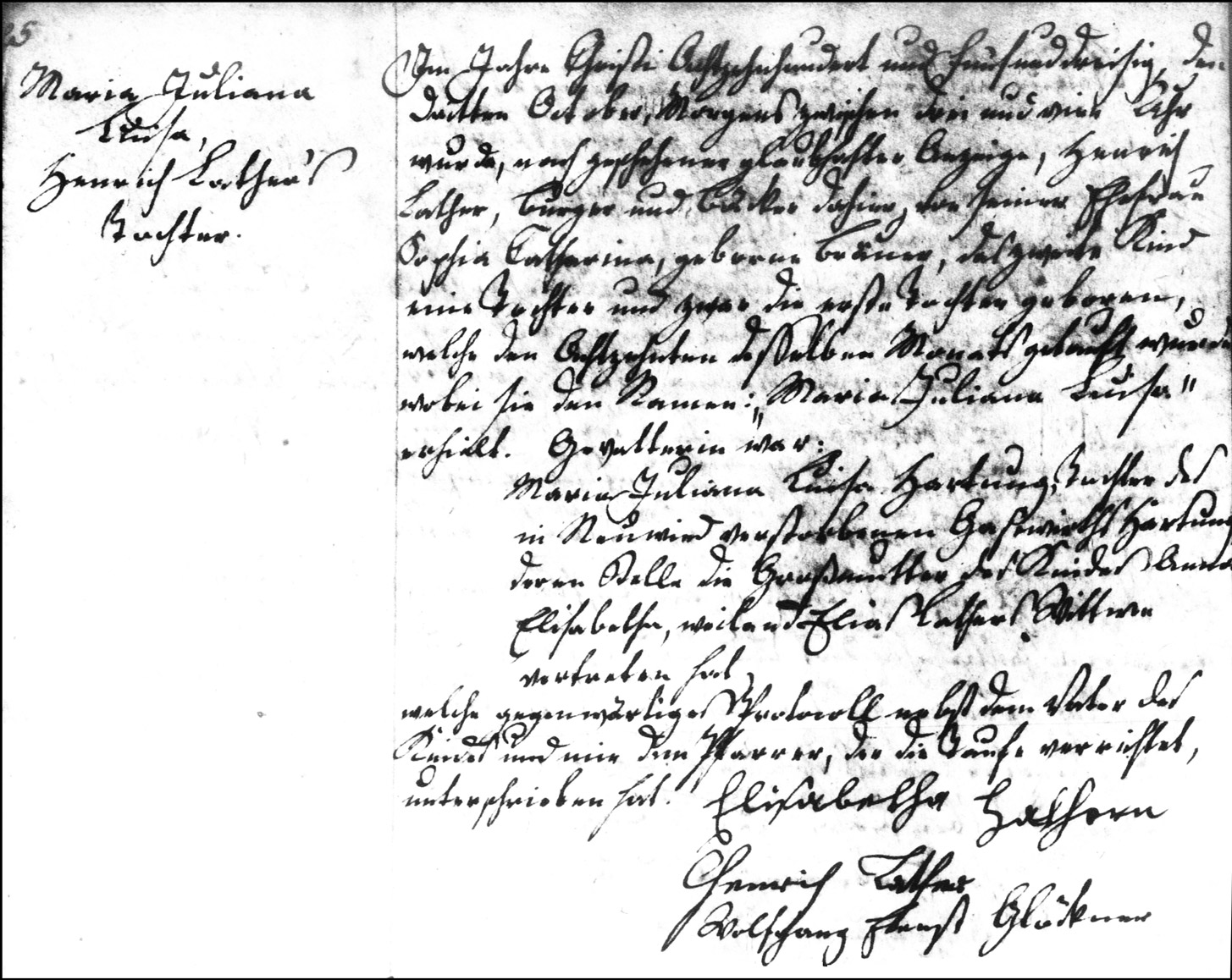 The Birth and Baptismal Record of Maria Juliana Lather - 1835