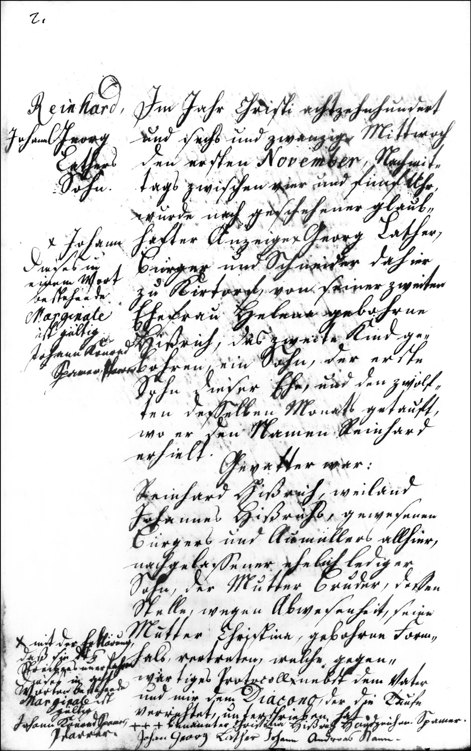 The Birth and Baptismal Record of Reinhard Lather - 1826