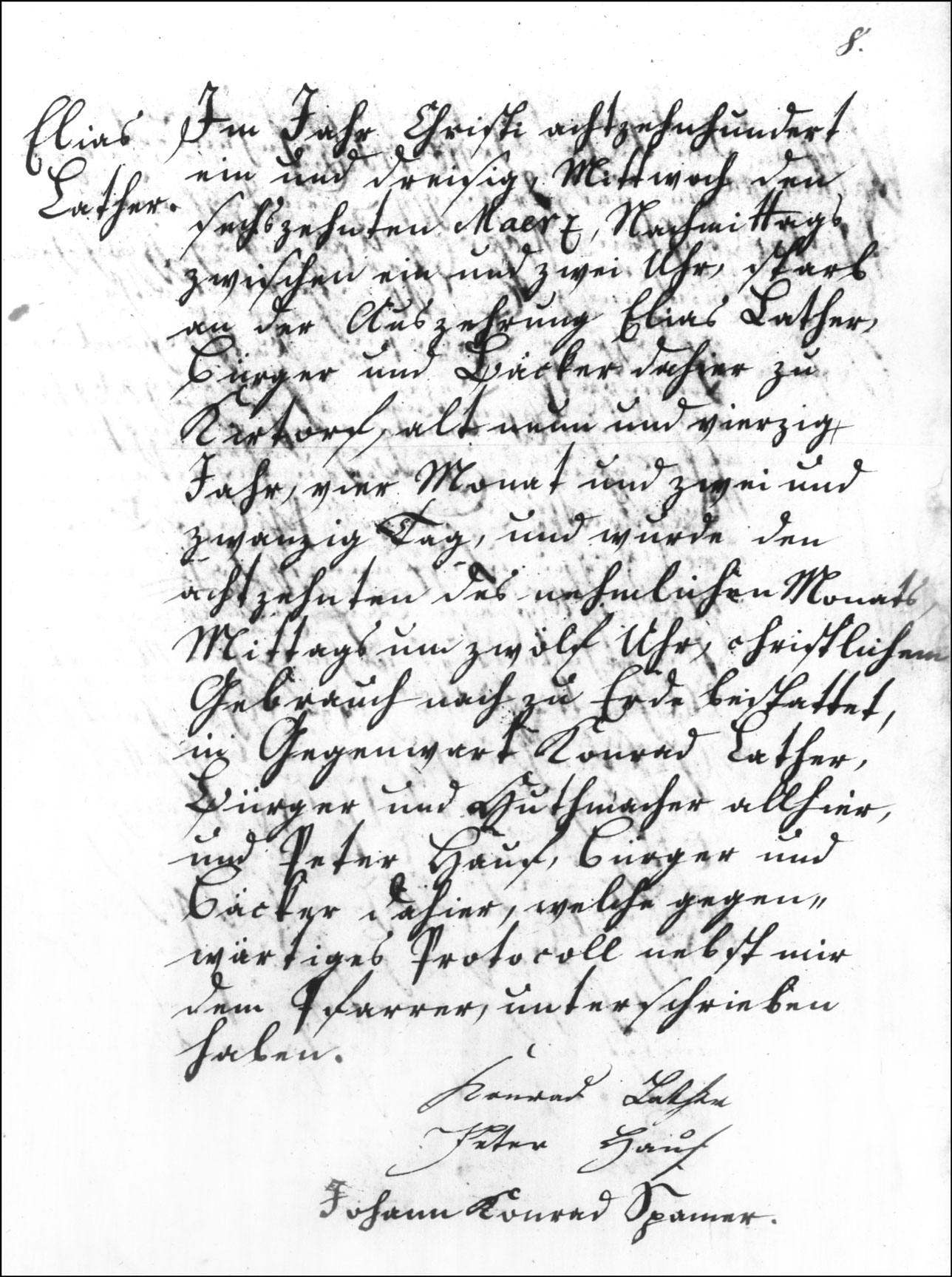 The Death and Burial Record of Elias Lather - 1831