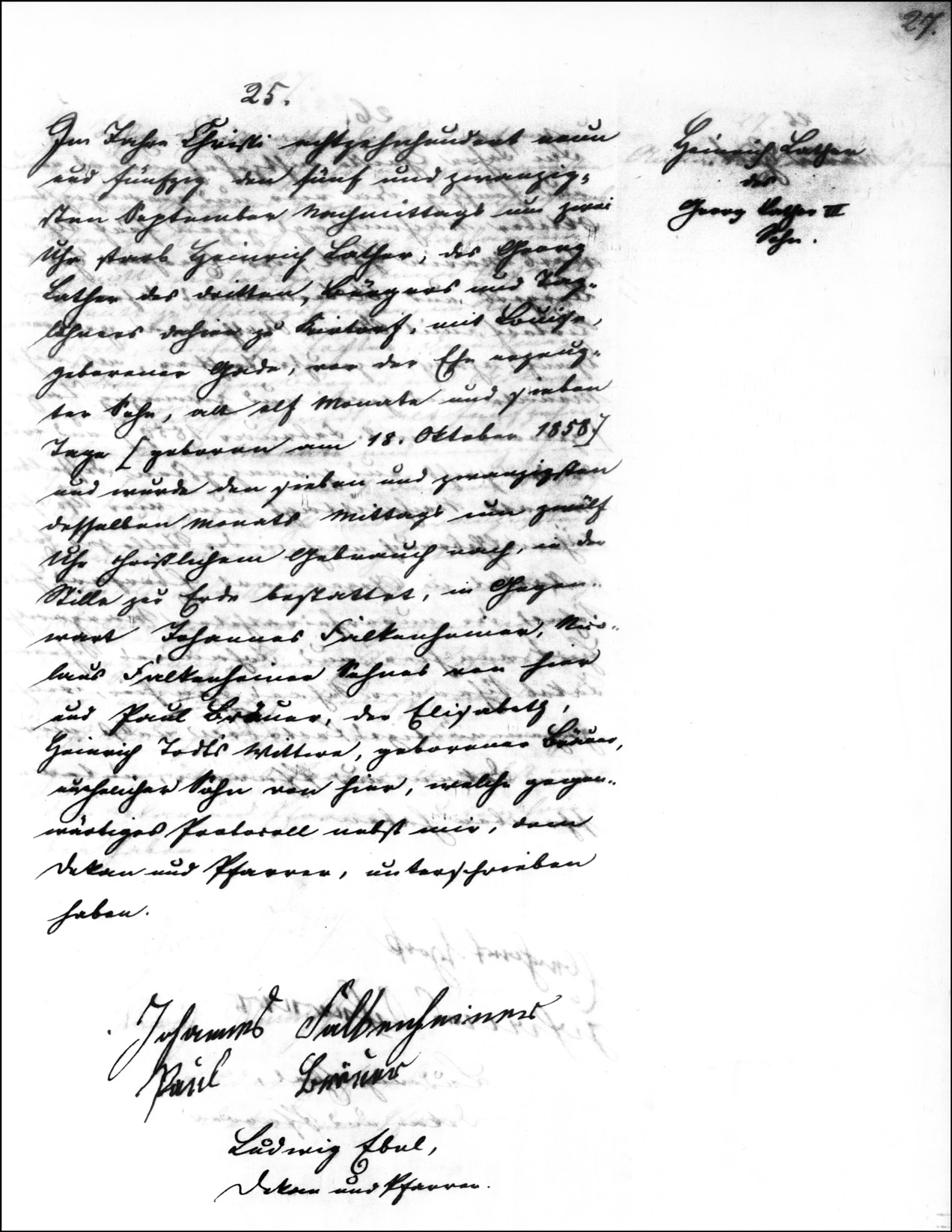 The Death and Burial Record of Heinrich Lather - 1859