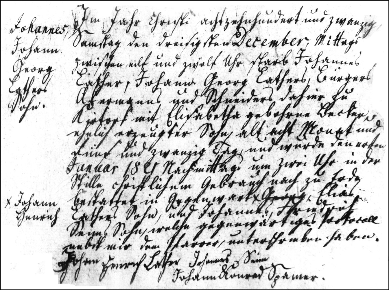 The Death and Burial Record of Johannes Lather - 1820