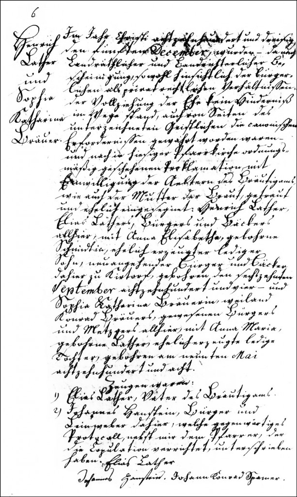 The Marriage Record of Henrich Lather and Sophia Katharina Brauer - 1830