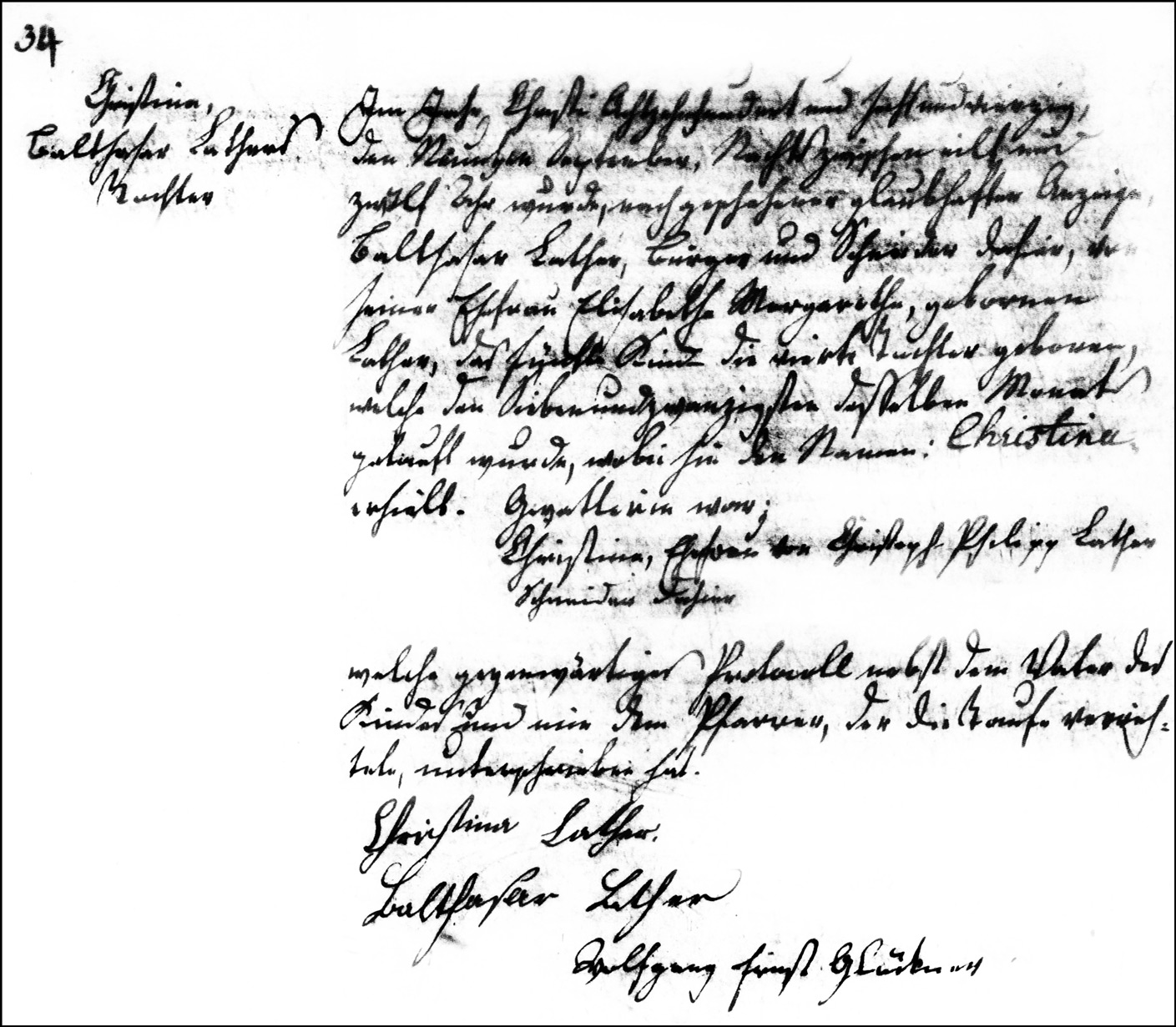 The Birth and Baptismal Record of Christina Lather - 1846