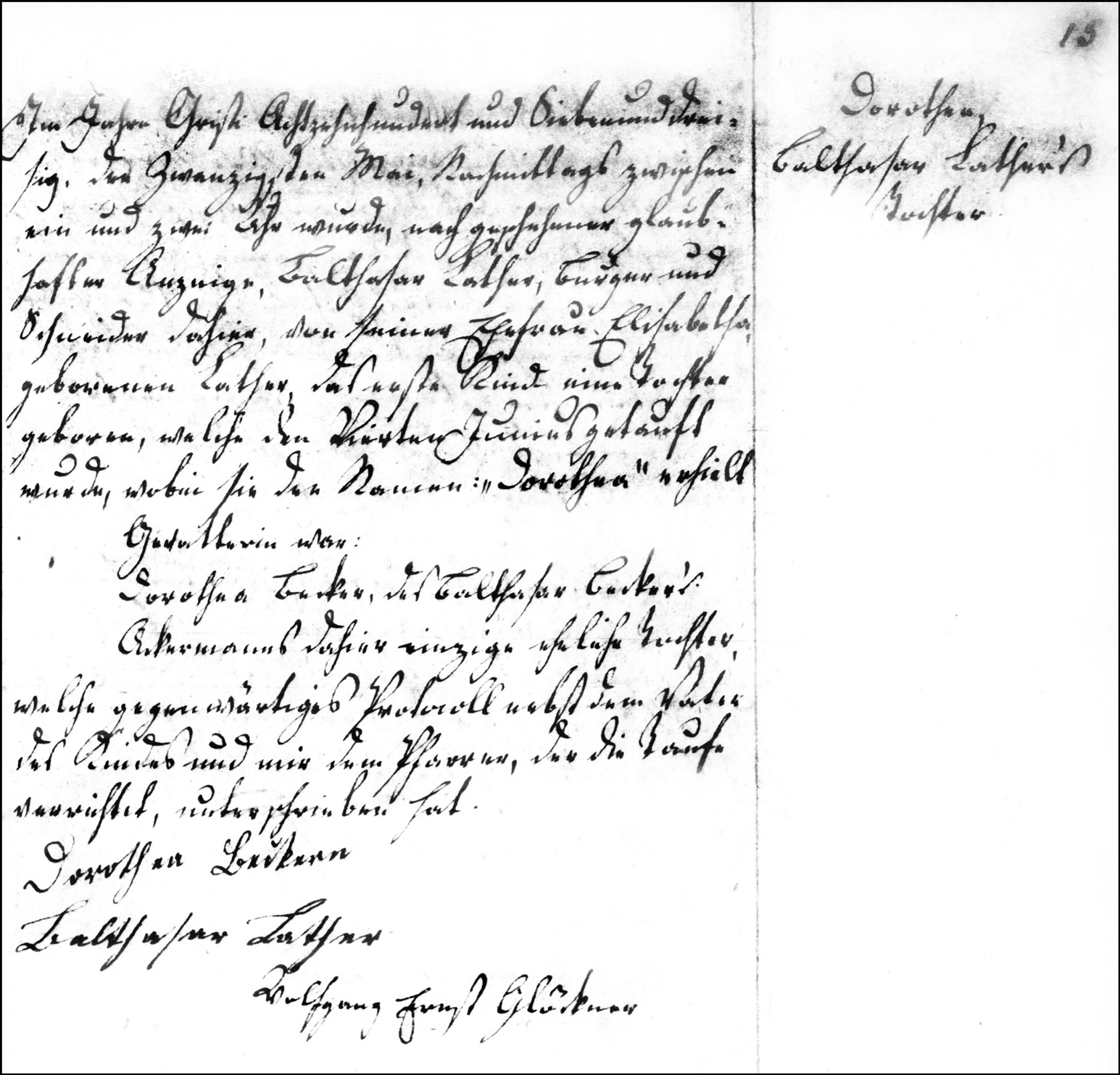 The Birth and Baptismal Record of Dorothea Lather - 1837