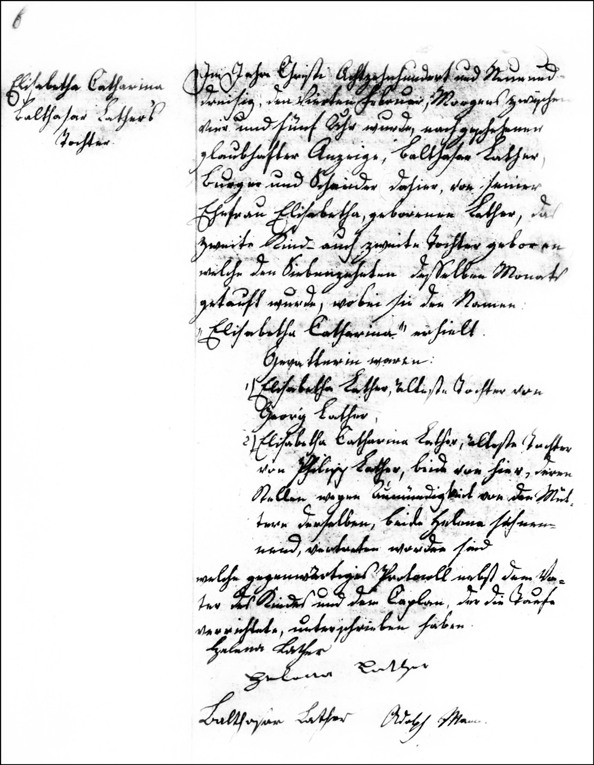 The Birth and Baptismal Record of Elisabetha Catharina Lather -