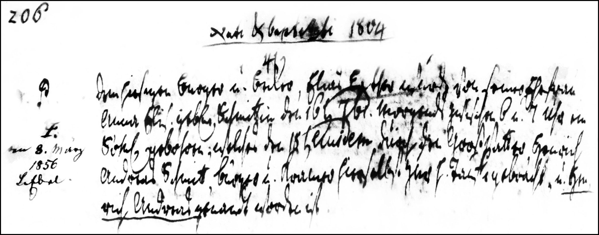 The Birth and Baptismal Record of Henrich Andreas Lather - 1804