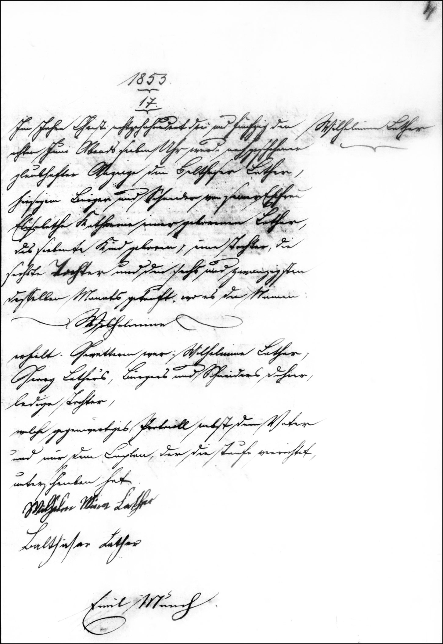 The Birth and Baptismal Record of Wilhelmina Lather - 1853