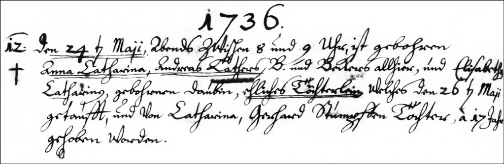 The Birth and Baptismal Record of Anna Catharina Lather - 1736
