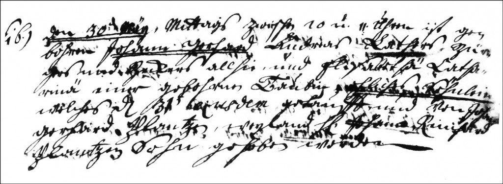 The Birth and Baptismal Record of Johann Gerhard Lather - 1737