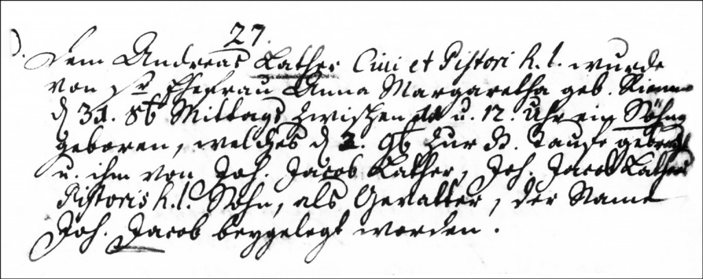 The Birth and Baptismal Record of Johann Jacob Lather - 1746