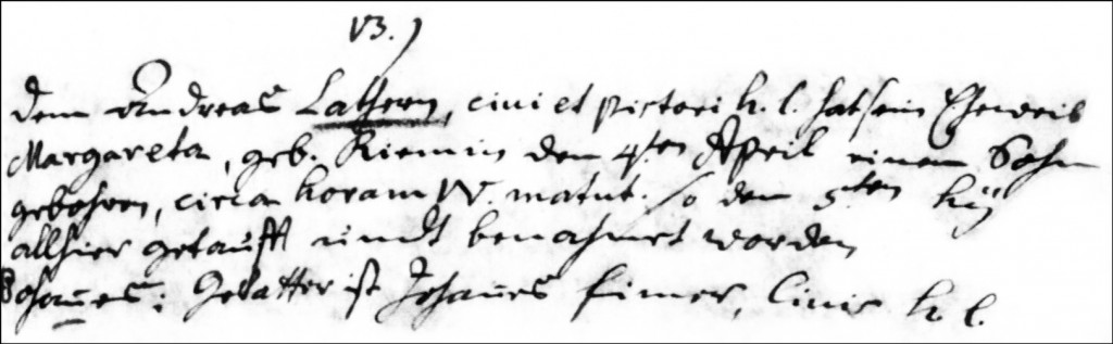 The Birth and Baptismal Record of Johannes Lather - 1745