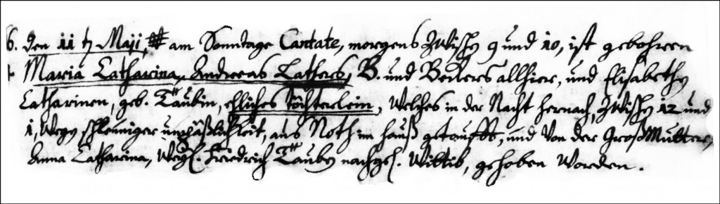 The Birth and Baptismal Record of Maria Catharina Lather - 1732