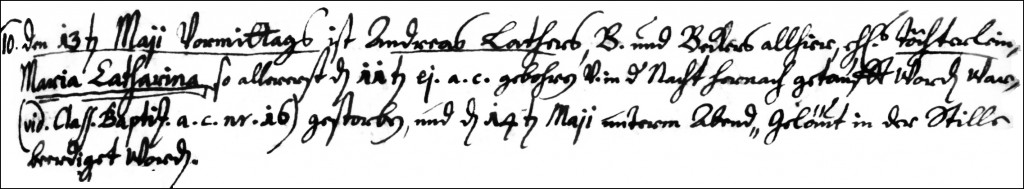 The Death and Burial Record of Maria Catharina Lather - 1732