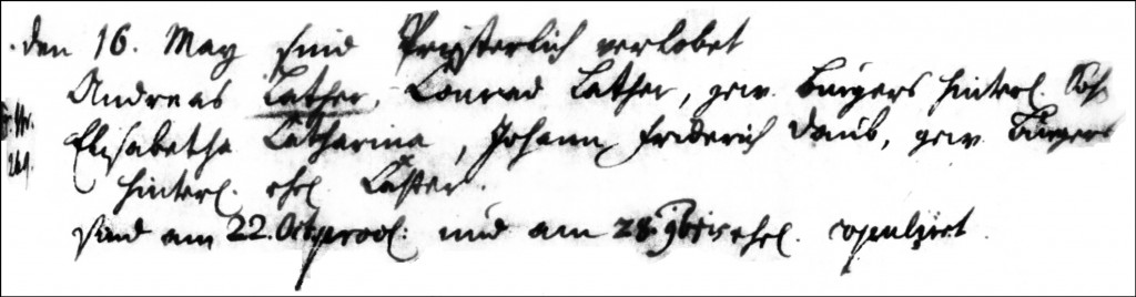 The Marriage Record of Andreas Lather and Elisabetha Catharina Daub - 1730