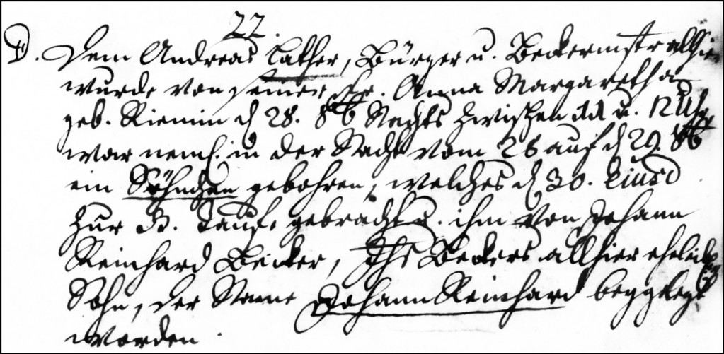 The Birth and Baptismal Record of Johann Reinhard Lather - 1750