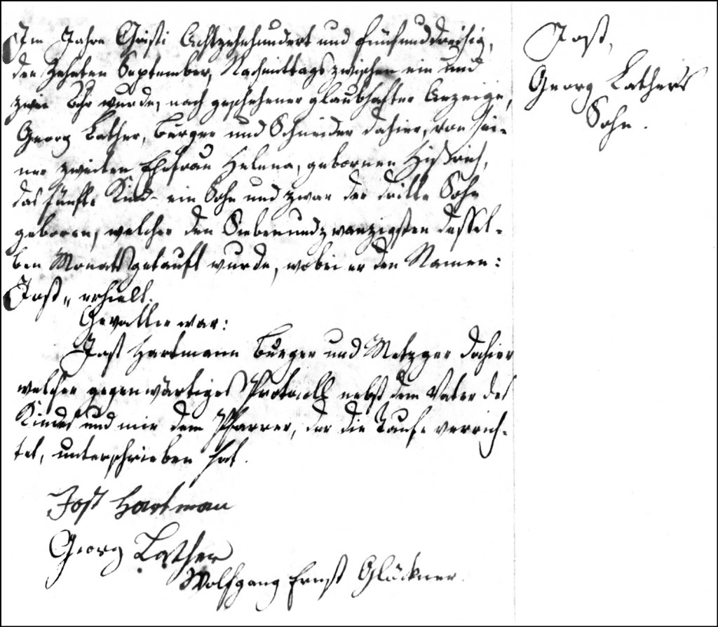 The Birth and Baptismal Record of Jost Lather - 1835