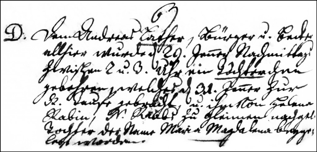 The Birth and Baptismal Record of Maria Magdalena Lather - 1749