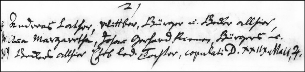 The Marriage Record of Andreas Lather and Anna Margaretha Riem - 1744