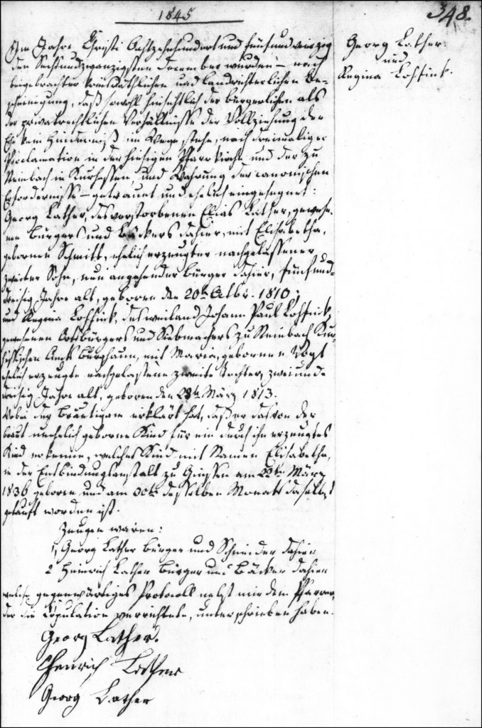 The Marriage Record of Georg Lather and Regina Lohfink - 1845