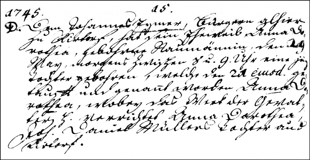 The Birth and Baptismal Record of Anna Dorothea Eymer - 1745