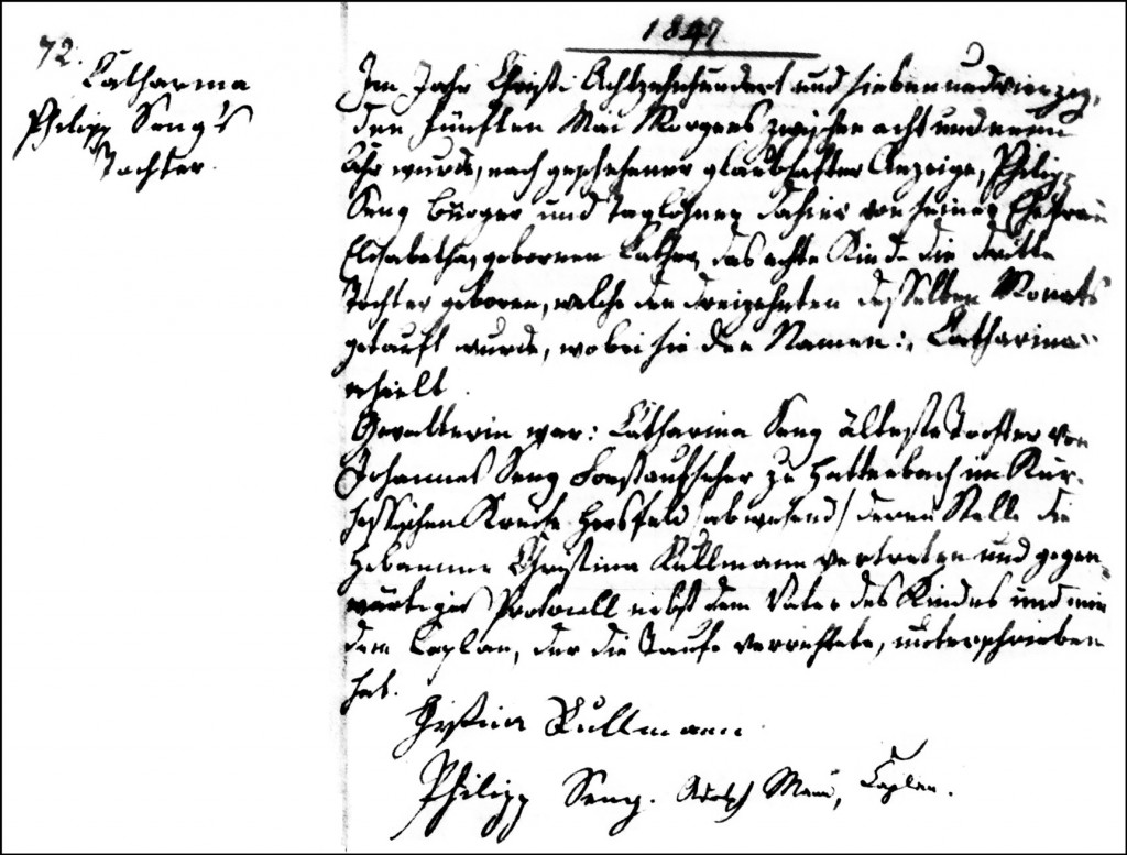 The Birth and Baptismal Record of Catharina Seng - 1847