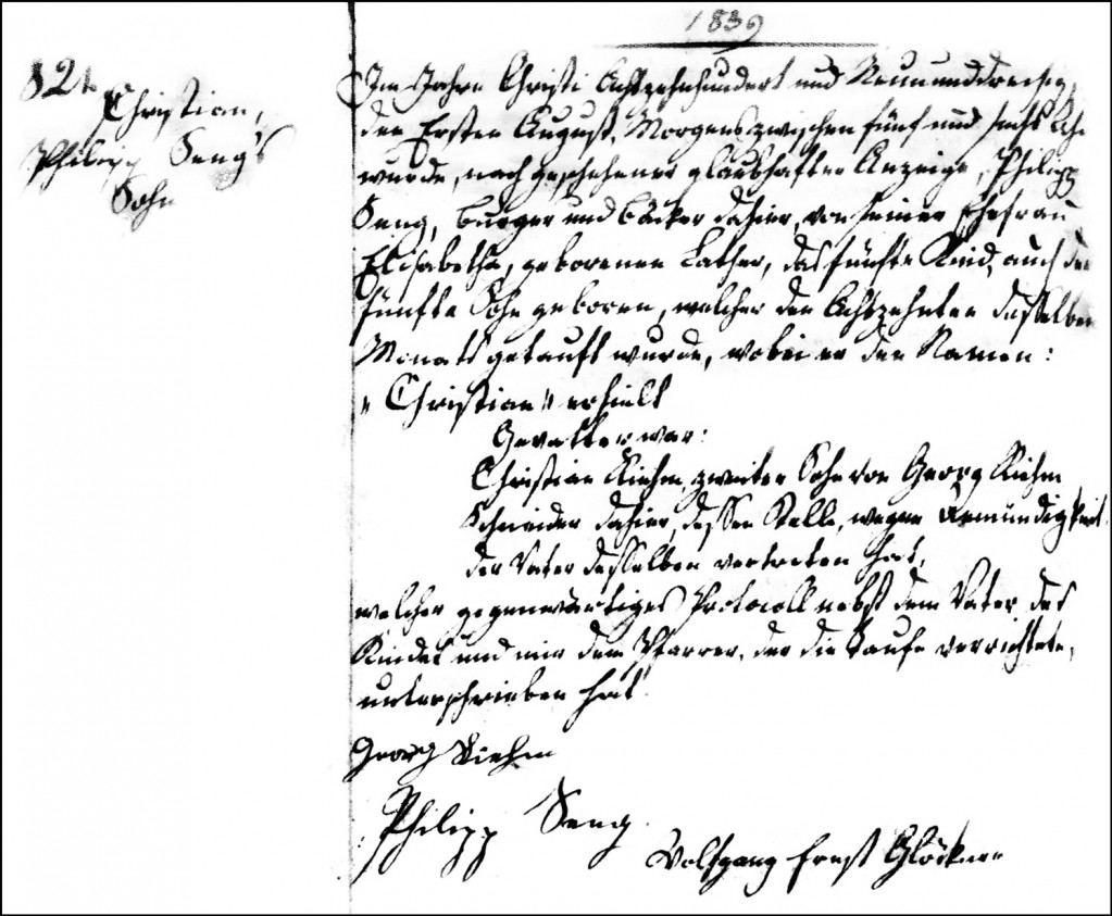 The Birth and Baptismal Record of Christian Seng - 1839
